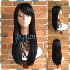 Ready to Ship Long & Straight Full Wig China bangs/side Swoop Bangs... ($69) ❤ liked on Polyvore featuring beauty products, haircare, hair styling tools, bath & beauty, grey, hair care and wigs