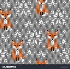 Foxes jacquard knitted seamless pattern. Winter background with cute animals. Scandinavian style. Vector illustration.