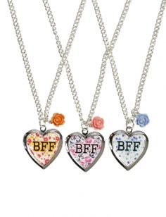 BFF Floral Locket Necklaces.