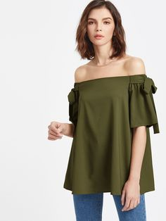 2220a16129bd10 Shop Olive Green Off The Shoulder Bow Tie Detail Swing Top online. SheIn  offers Olive Green Off The Shoulder Bow Tie Detail Swing Top   more to fit  your ...