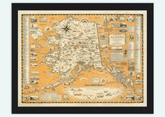 Old Map of Alaska Pictorial Map