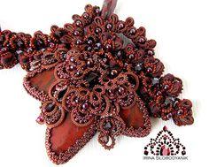 Купить Пряного мира царица - корица! Колье1 - коричневый, вечернее украшение, корица, Сваровски, бисер