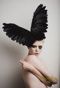 Couture Black Wings, Fashion Headpiece, Fascinator, Buy Headpiece