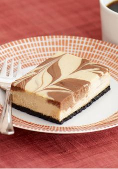 Cappuccino Chocolate-Swirl Cheesecake Bars — Looking for a dessert recipe to make for your mocha fans? These coffee-infused treats oughtta do the trick.