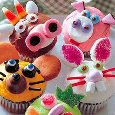 Animal Cupcakes,  Recipe included from Family Circle