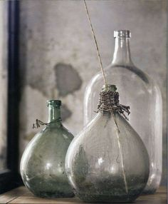 Ali's Eye Candy: The Natural Home - Hans Blomquist Antique Glass Bottles, Vintage Bottles, Bottles And Jars, Glass Jars, Vintage Vases, Wabi Sabi, Magic Bottles, Bottle Vase, Water Bottle