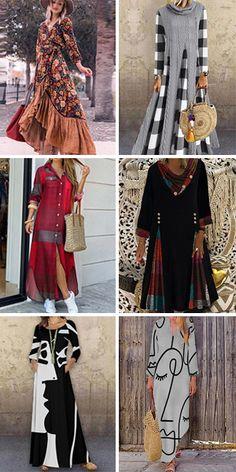 Long Sleeve Floral Ruffle Split Print Spring Fall Elegant 2020 Rainbow Stylish Summer Outfits, Boho Outfits, Fashion Outfits, Sandro, Trendy Fashion, Kids Fashion, Womens Swing Dress, Women's A Line Dresses, Indian Fashion Dresses