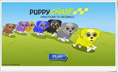 Puppy Chase supports Grade 4 and Grade 5 Common Core Math Standards in Number and Operations - Fractions. Decimal Games, Math Games, Math Skills, Math Lessons, Decimal Conversion, Common Core Math Standards, Fourth Grade Math, Educational Games For Kids, Teaching Math