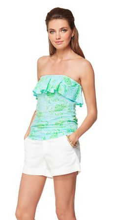 Lilly Pulitzer Wiley Tube Top - Spa Blue Get Crackin'