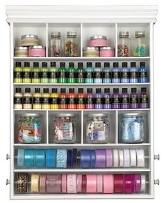organized by color - pretty but looks seriously anal. my sewing room is a mess