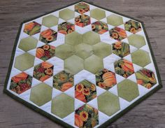 Applique Hexagon Table Topper Quilted Table Topper by GabbysQuilts
