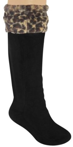262d15d3c Capelli New York Ladies Tall Rainboot Liner With Plush Leopard Faux Fur Cuff   11.95 Thigh High