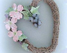 Floral Wreath Heart Wreath Shabby Chic Wreath Shabby Chic Heart Flower Wreath  Pink Wreath Flower Heart Floral Heart Romantic Home Dogwood