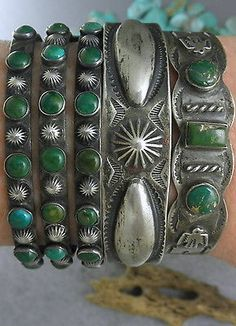 Harvey-Era-NAVAJO-Repousse-Conchos-THUNDERBIRD-Green-Turquoise-Cuff-Bracelet