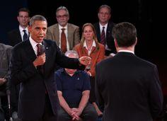 "President Barack Obama, left, speaks to Republican presidential nominee Mitt Romney during the second presidential debate. ""Such poise!"" - Image Werks, LLC"