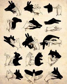 "Vintage Illustration ""Shadow Puppets"" Antique Silhouette Print - Children's…"