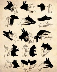 "Vintage Illustration ""Shadow Puppets"" Antique Silhouette Print - Children's…"