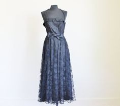 Vintage 80's Black Lace Full Skirt Prom by perniejaynevintage, $88.00