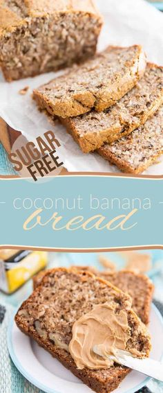 Whether you eat it plain or topped with your favorite peanut butter, this Sugar Free Coconut Banana Bread makes for the perfect snack or quick breakfast. Sugar Free Banana Bread, Coconut Banana Bread, Banana Bread Recipes, Quick Healthy Breakfast, Breakfast Recipes, Sausage Breakfast, Breakfast Casserole, Healthy Cake, Healthy Food