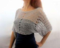 Katoen zomer Cropped Sweater schouderophalend in licht grijze kleur, hand gebreid, ecovriendelijke