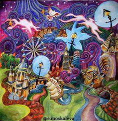 Magic City, Magical Christmas, Coloring Book Pages, Christmas Colors, Trippy, Adult Coloring, Colored Pencils, Color Inspiration, Cool Art