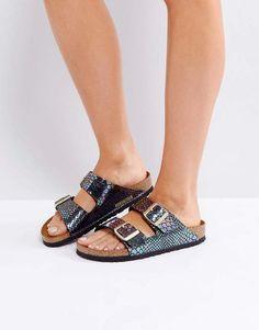 6f86458032b652 Birkenstock Arizona Birko Shiny Snake Narrow Fit Flat Sandals Cinderella  Shoes
