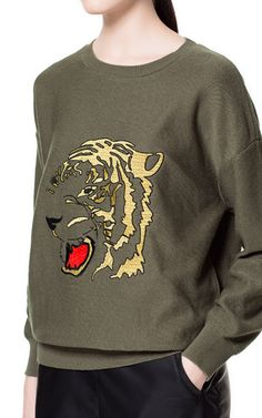 SWEATER WITH EMBROIDERED TIGER  - ZARA