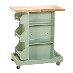 Mistana Diaz Kitchen Cart with Wood Top Base Finish: Mint Small Storage, Storage Shelves, Extra Storage, Storage Area, Wine Storage, Craft Storage, Storage Cabinets, Hamptons Kitchen, The Hamptons