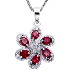 Sterling Silver Red Sapphire Pendant (1 CT) With 18 Inch Chain ** Tried it! Love it! Click the image. : Jewelry Necklaces