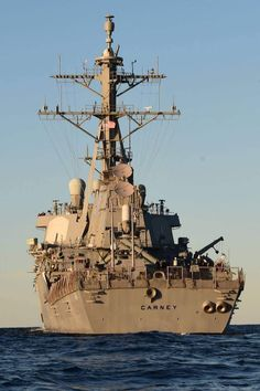 USS Carney is an Arleigh Burke-class guided-missile destroyer. Destroyers (DDGs) can operate independently or as part of Carrier Strike Groups, Surface Action Groups, Amphibious Ready Groups and Underway Replenishment Groups. Carrier Strike Group, Us Navy Ships, Navy Military, United States Navy, Aircraft Carrier, Water Crafts, Battleship, Armed Forces, Sailing Ships