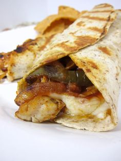 Grilled Fajita Wraps - this is the best combination of a grilled sandwich + mexican flavors.  I also found this was an excellent use of some left-over roasted chicken in the fridge.  Big hit here!