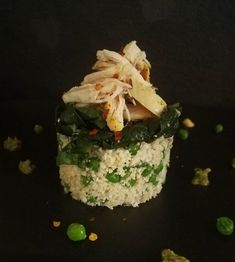 Cauliflower & Petite Pois Pea Tower topped with Swiss Chard & Tumeric Spiced Chicken Chicken Spices, Date Dinner, Cauliflower, Bae, Tower, Breakfast, Food, Morning Coffee, Rook