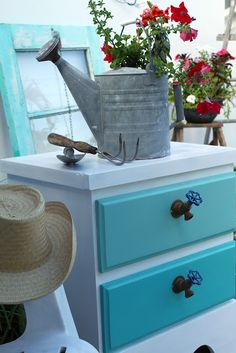 How to transform an old chest of drawers! Faucet handles - how adorable Redo Furniture, Decor, Painted Furniture, Drawer Pulls, Furniture Making, Faucet Handles, Repurposed Dresser, Furniture Handles, Furniture