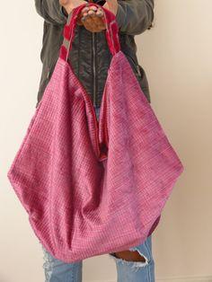 Pink oversized hobo bag italian velvet one-of-kind by vquadroitaly