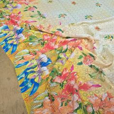 Digital Floral Sequin Cotton Burnout Lawn Fabric Dress Anglaise Baroque Fabric #TheFabricSpecialists