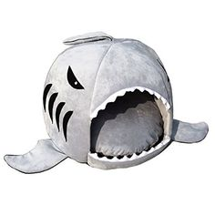 Hunter16 Large Mouth Shark Sponge Pet Nest Comfortable Shark Round House House Washable Pet Bed for Cat and Dog Kennel Size (S 16.5*16.5*14.6 inches)