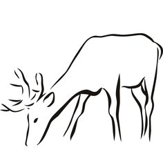 animal outlines | Deer Outline Animal Wall Sticker Wall Art Decal Transfers