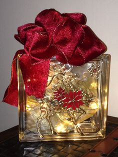 christmas craft glass block this is my first one but i really