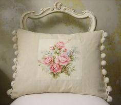 french vintage fabric cushion. Gret pillow. Love the pompom fringe