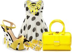 """""""Yellow Polka Dot Dress"""" by alerogirl ❤ liked on Polyvore"""