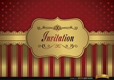 Wedding invitation design decorated with red and golden frame and fringes, it also has a pattern of red rhombs on top. Under Commons 4.0. Attribution License.