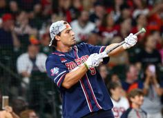 Houston Texans inside linebacker Brian Cushing (56) celebrates while batting during a homerun derby before the 4th annual J. J. Watt Charity Classic at Minute Maid Park Saturday, May 14, 2016, in Houston.