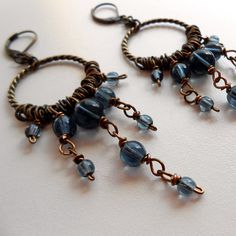 Long Antique Brass and Czech Glass earrings in by JennyBunny, $16.00