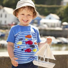 My design! - JoJo Maman Bebe Boys Stripe Fishing T Shirt, Fish, applique, cute, SS14