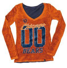 f619619c9 Chicago Bears Women s Slub V-Neck Double Dye Long Sleeve T-Shirt Chicago  Bears
