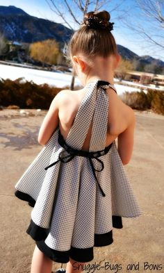 Twirl Dress, Twirly Dress, Black and White Dress, Polka Dot Dress, Girl Dress, Girl Twirl Dress, Gir
