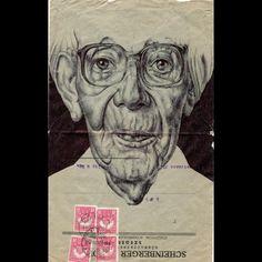 Retratos hechos 'a boli' sobre cartas antiguas en lainformacion.com