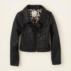 Girls Faux-Leather Moto Jacket - Black - The... $39.95 at The Children's Place