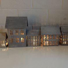 Danish Tin Houses for Tealights from Walther & Co - Greige - Home & Garden - Chiswick, London Christmas Lanterns, Christmas Tea, Christmas Makes, House Candle Holder, Candle Holders, Galvanized Decor, Galvanized Metal, Glass Hurricane Lamps, Shabby Chic Dining Room