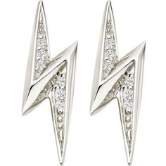 ASTLEY CLARKE Lightning Bolt sterling silver and white sapphire stud... (£70) ❤ liked on Polyvore featuring jewelry, earrings, white sapphire jewelry, sterling silver jewellery, sterling silver stud earrings, white sapphire earrings and astley clarke